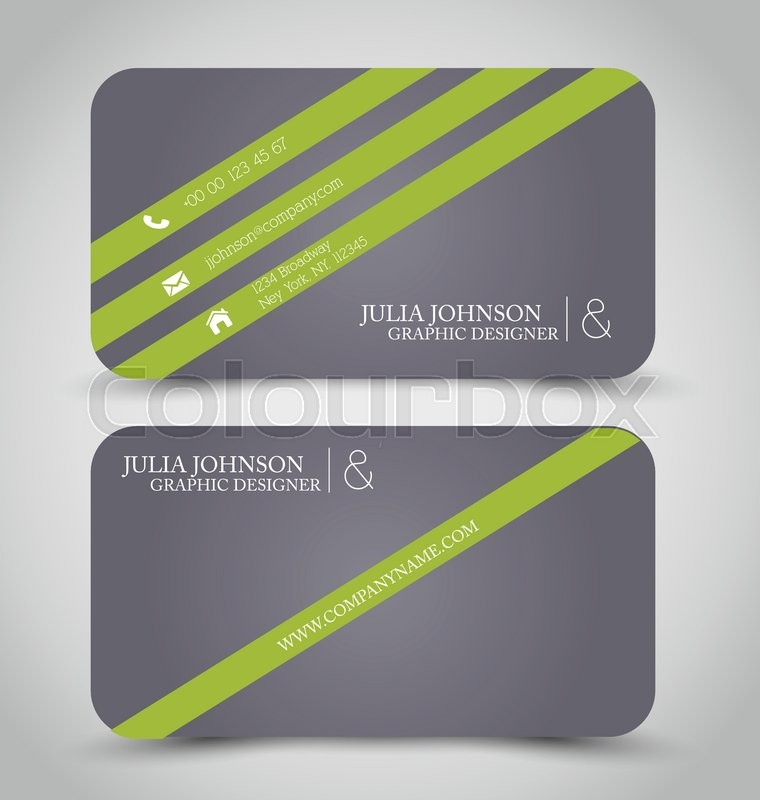 Business card design set template for company corporate style. Green ...