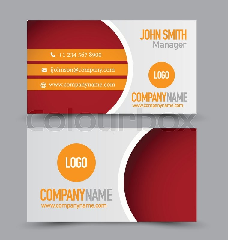Business card design set template for company corporate style. Red ...