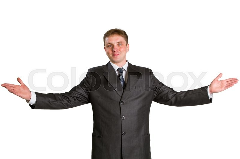 Stock image of 'Happy businessman showing his thumbs up with smile over white background'