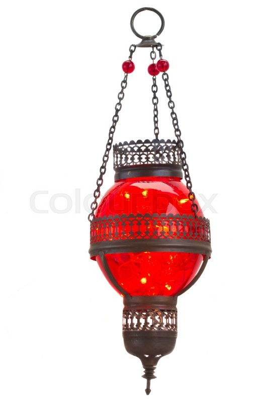 Stock image of 'red oriental hanging  lamp isolated on white background'