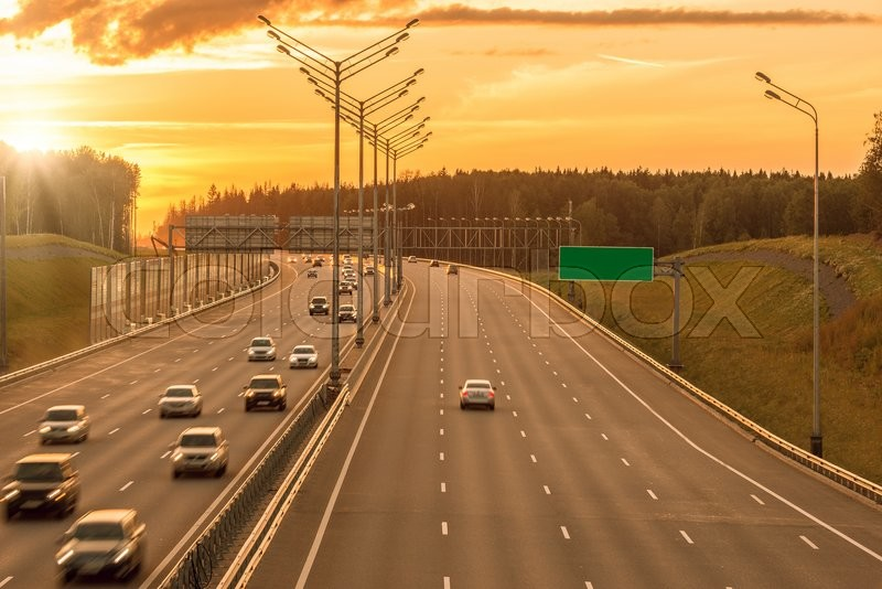 Stock image of 'View of the new highway at sunset time.'