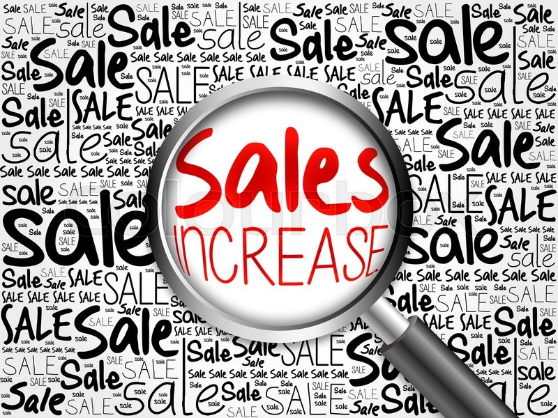 Stock image of 'Sales Increase sale word cloud with magnifying glass, business concept'