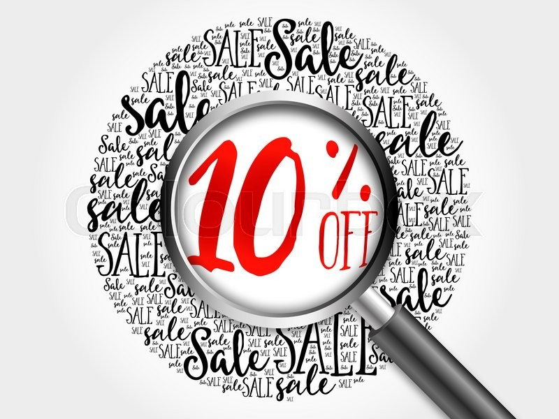 Stock image of '10% OFF sale word cloud with magnifying glass, business concept'