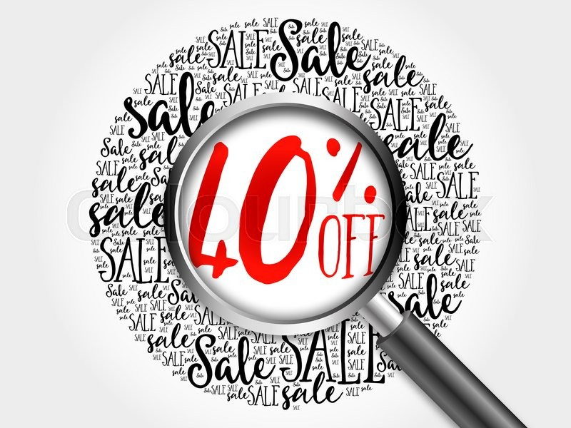 Stock image of '40% OFF sale word cloud with magnifying glass, business concept'