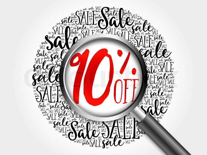 Stock image of '90% OFF sale word cloud with magnifying glass, business concept'