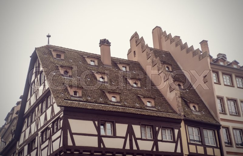Stock image of 'Old European Half-Timbered Tudor Style House Autumn'