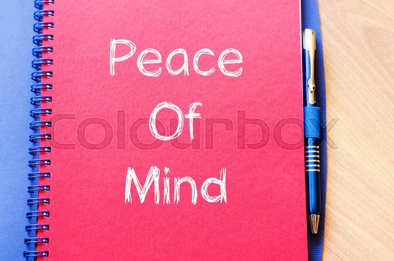 Stock image of 'Peace of mind text concept write on notebook with pen'