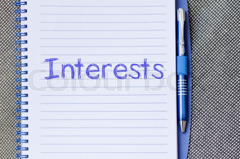 Stock image of 'Interests text concept write on notebook with pen'