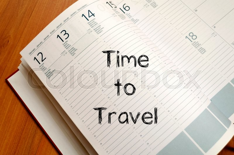 Stock image of 'Time to travel text concept write on notebook with pen'