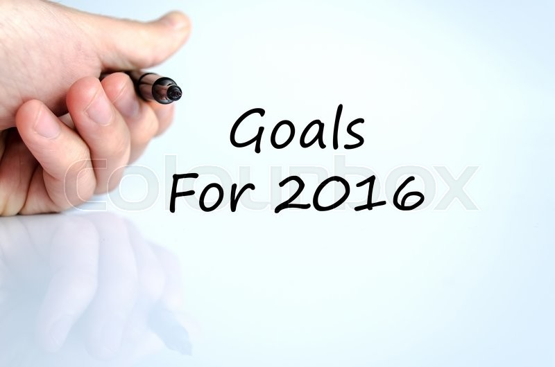 Stock image of 'Goals for 2016 text concept isolated over white background'
