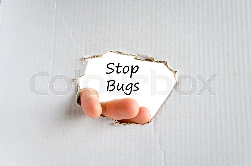 Stock image of 'Stop bugs text concept isolated over white background'