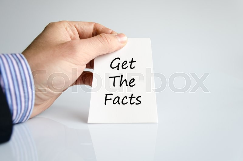 Stock image of 'Get the facts text concept isolated over white background'