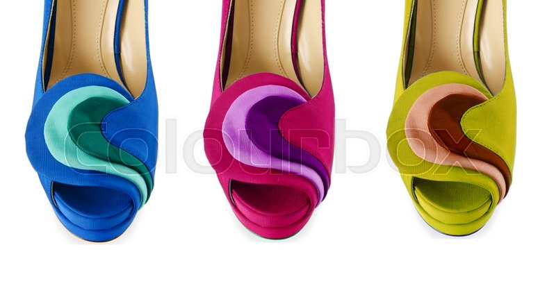 Stock image of 'Colourful woman shoes isolated on white'