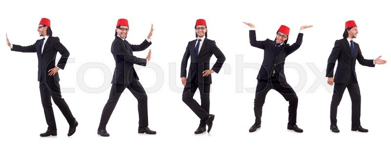 Stock image of 'Man wearing fez hat isolated on white'
