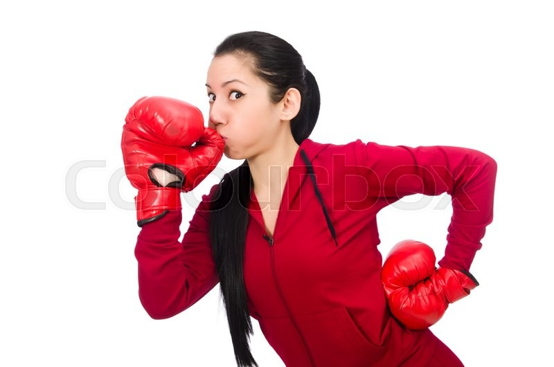 Stock image of 'Woman boxer isolated on the white'