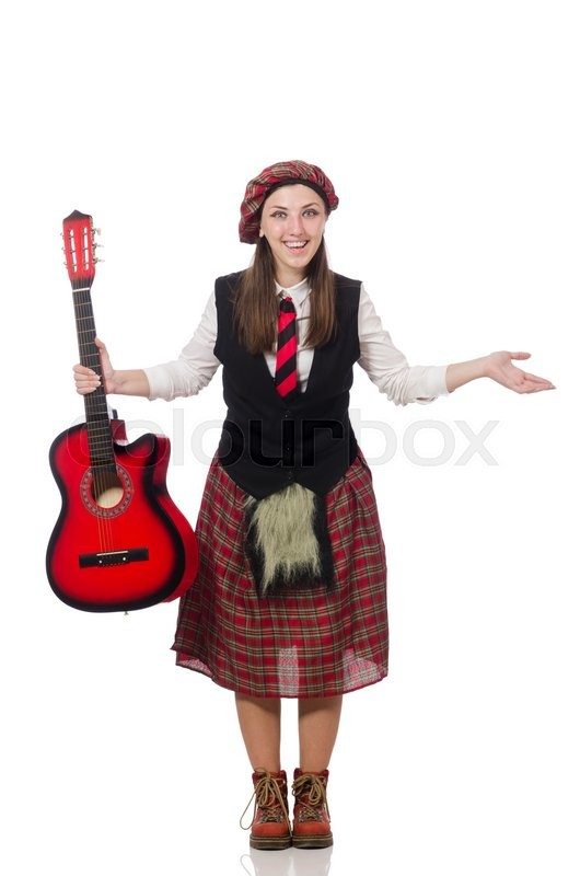 Stock image of 'Woman in scottish clothing with guitar'