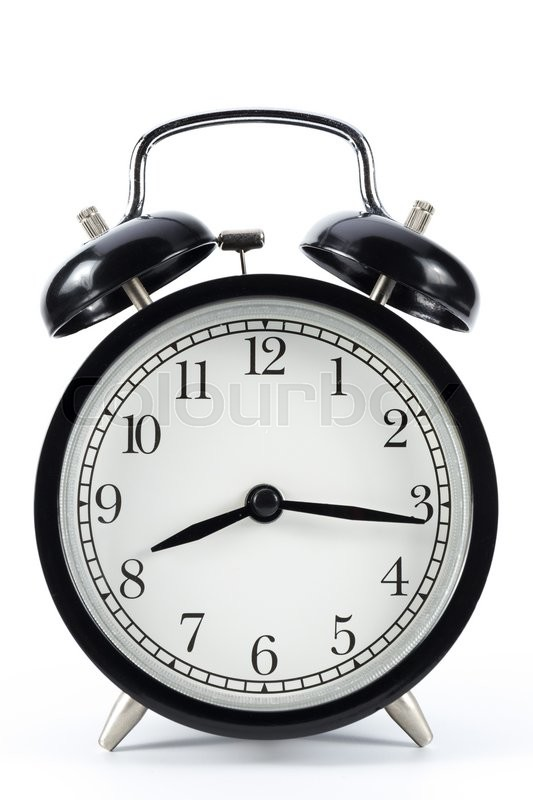 Stock image of 'Black metal retro alarm clock with isolated white background show 20:16'