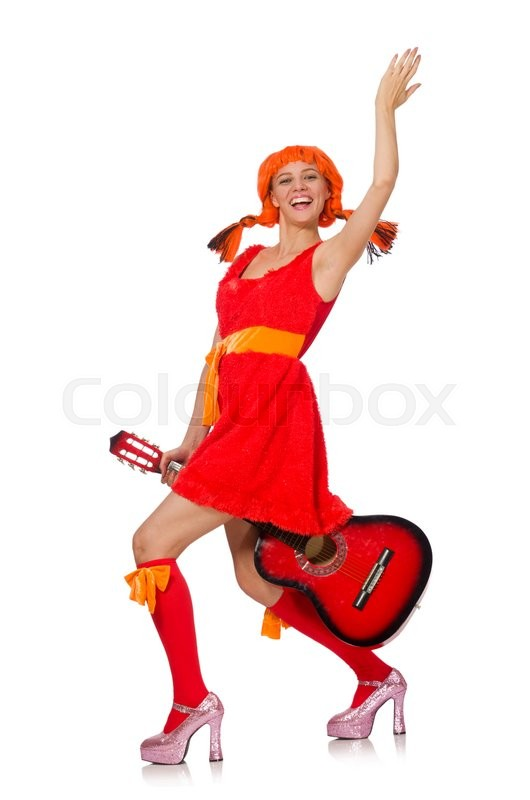 Stock image of 'Woman with guitar isolated on white'