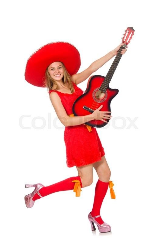 Stock image of 'Woman with sombrero playing guitar on white'