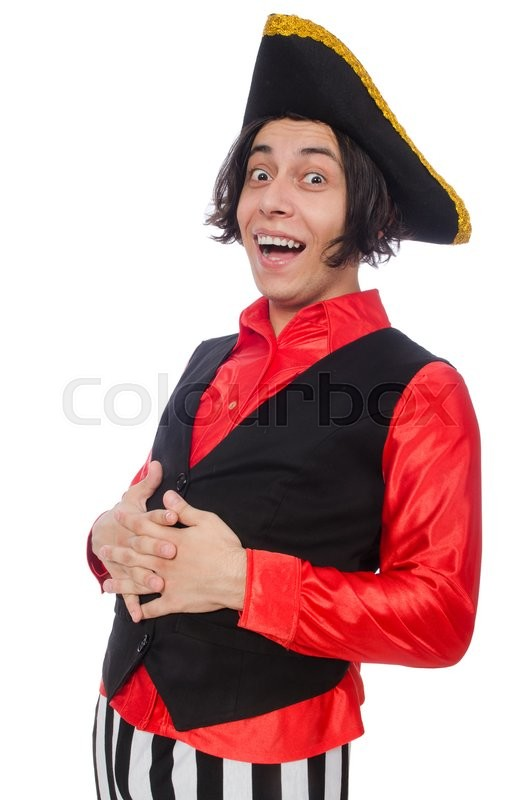 Stock image of 'Funny pirate isolated on the white'