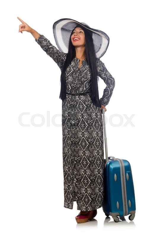 Stock image of 'Woman in travelling concept on white'
