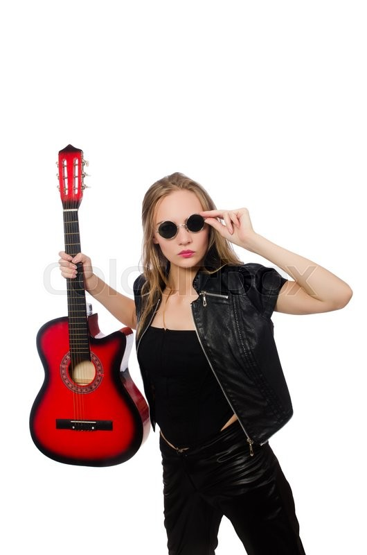 Stock image of 'Young woman guitar player isolated on white'