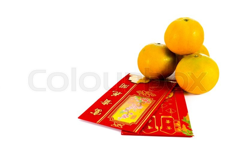 Stock image of 'Four oranges and red envelope with chinese blessing word are gift for chinese new year festival'