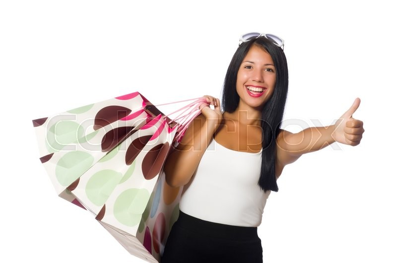 Stock image of 'Woman with shopping bags on white'