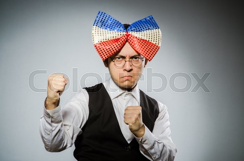 Stock image of 'Funny man with giant bow tie'