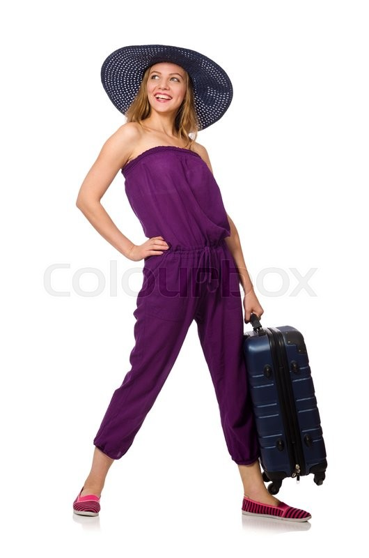 Stock image of 'Woman with suitcase isolated on white'