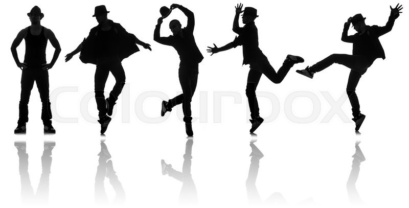 Stock image of 'Silhouettes of dancers in dancing concept'