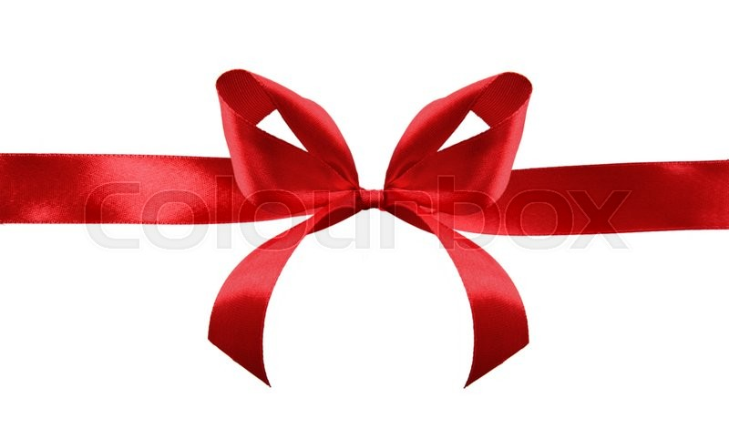 Stock image of 'Red satin gift bow and ribbon crosswise  isolated on a white background'