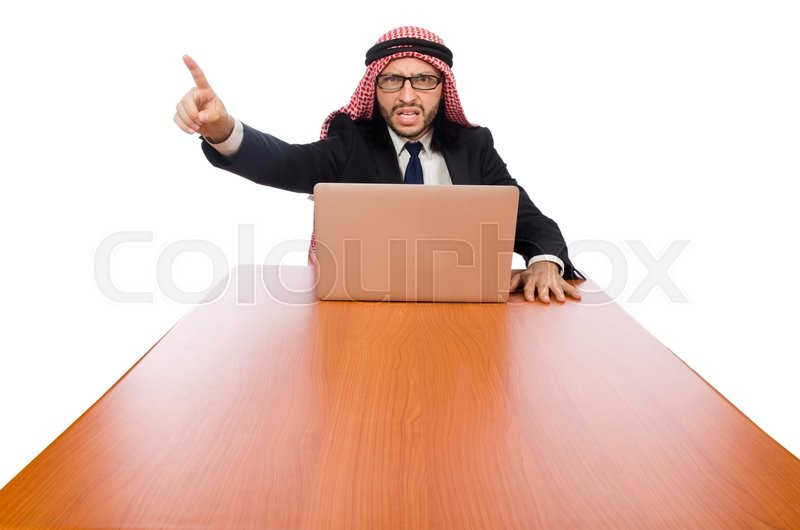 Stock image of 'Arab businessman with computer on white'