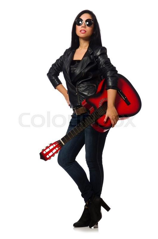 Stock image of 'Woman playing guitar isolated on white'