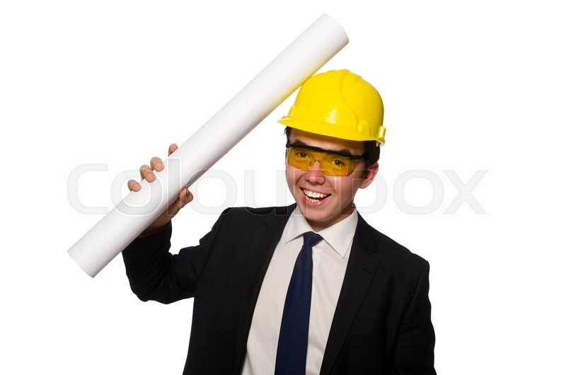 Stock image of 'Funny architect with drawings on white'