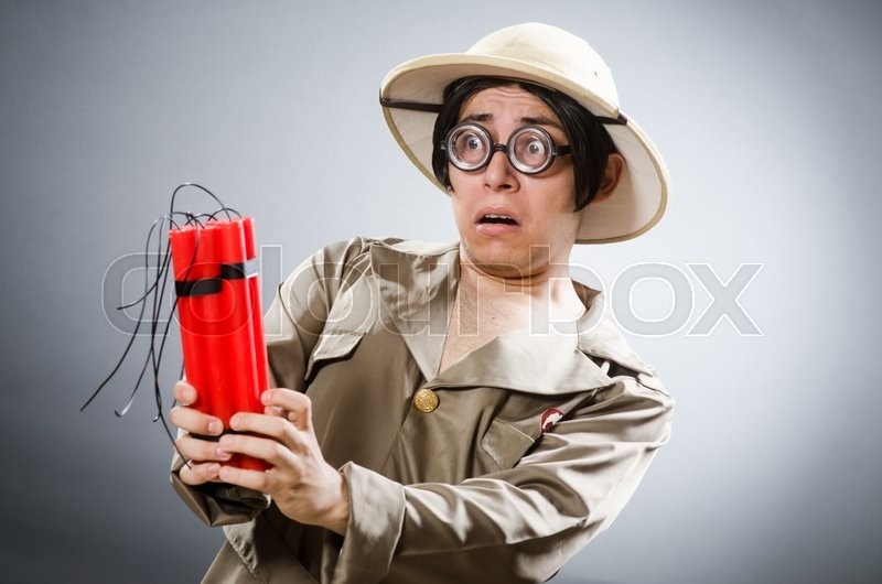 Stock image of 'Funny safari traveller in travelling concept'