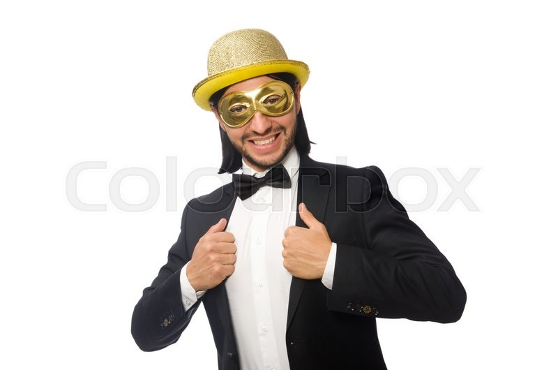 Stock image of 'Funny man wearing mask isolated on white'
