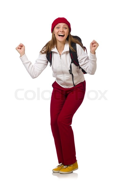 Stock image of 'Funny student with backpack isolated on white'