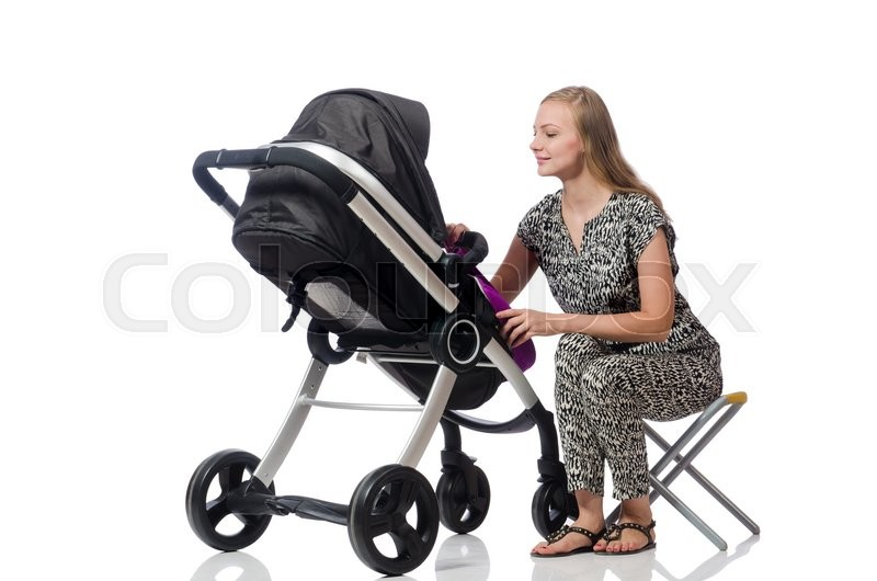 Stock image of 'Happy mom with her baby in pram'