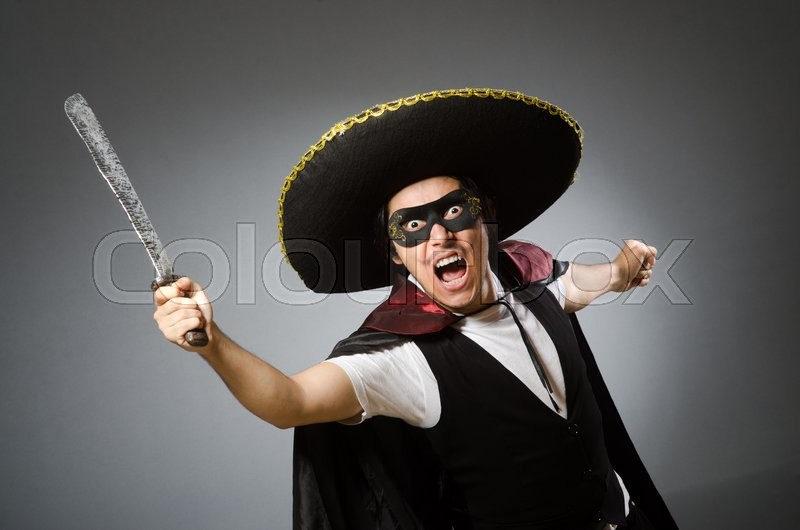 Stock image of 'Person wearing sombrero hat in funny concept'