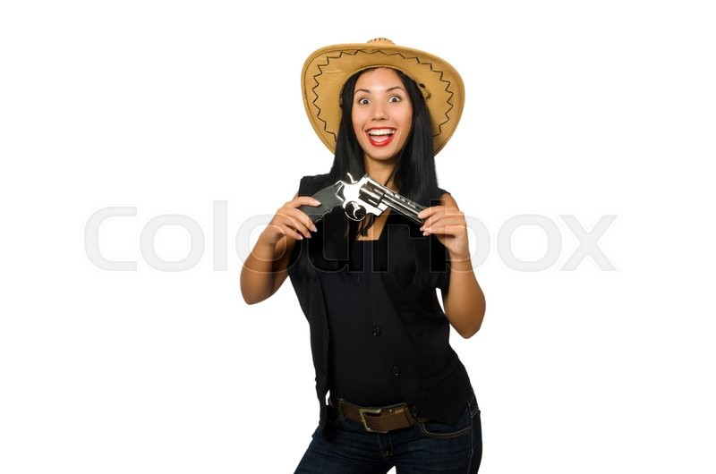 Stock image of 'Young woman with gun isolated on white'