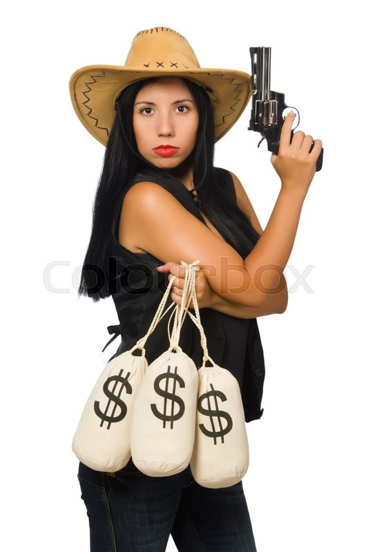 Stock image of 'Young woman with gun and money sacks'
