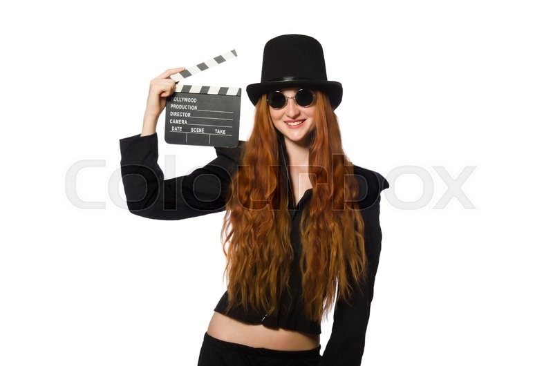 Stock image of 'Woman with movie board isolated on white'