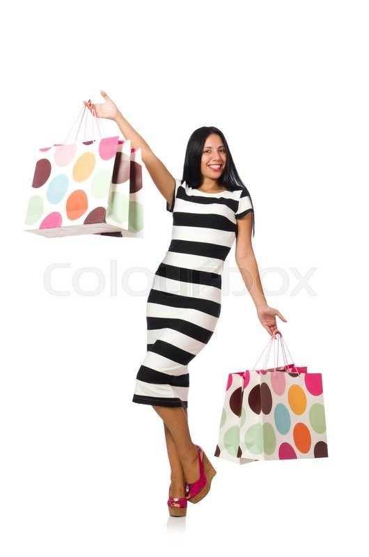 Stock image of 'Woman in christmas shopping concept on white'
