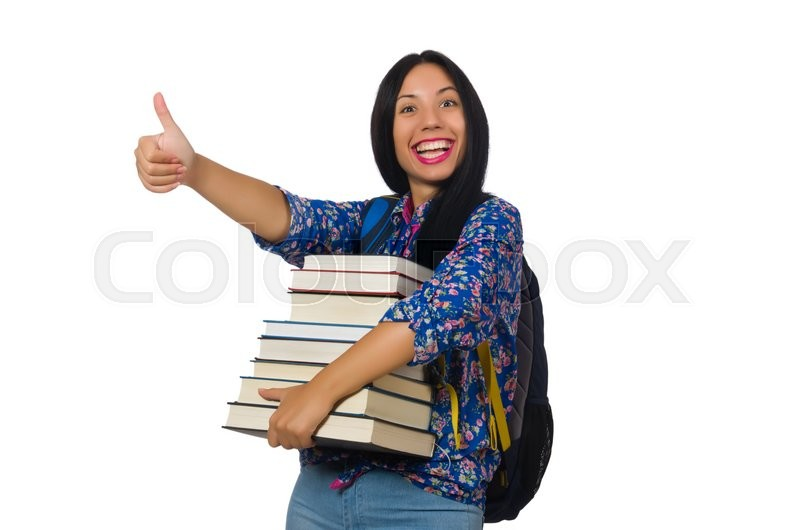 Stock image of 'Young female student with books on white'