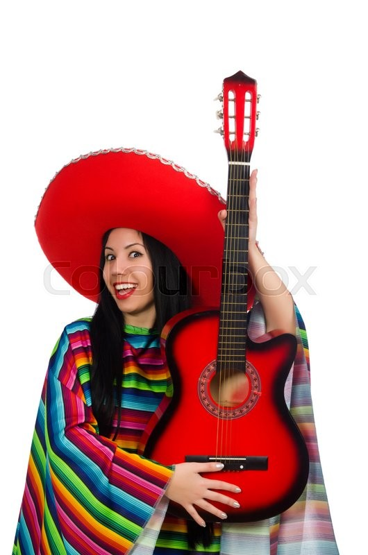 Stock image of 'Woman mexican guitar player on white'