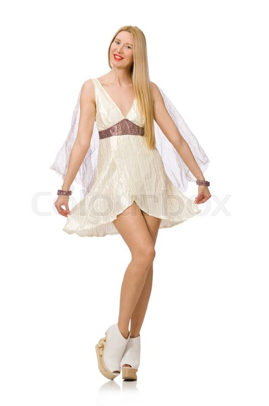 Stock image of 'Woman wearing white dress isolated on white'