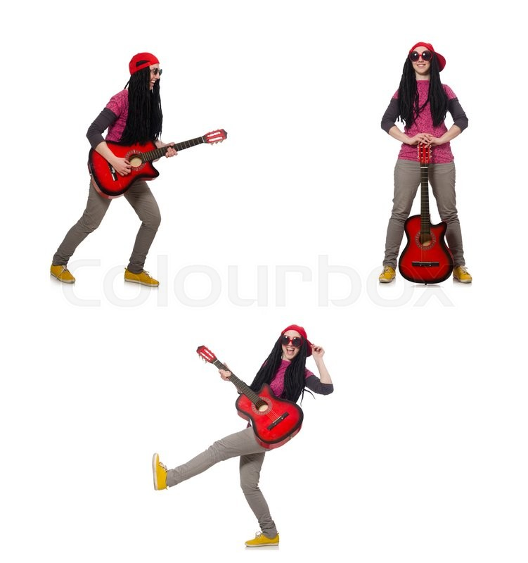 Stock image of 'Hipste guitar player isolated on white'