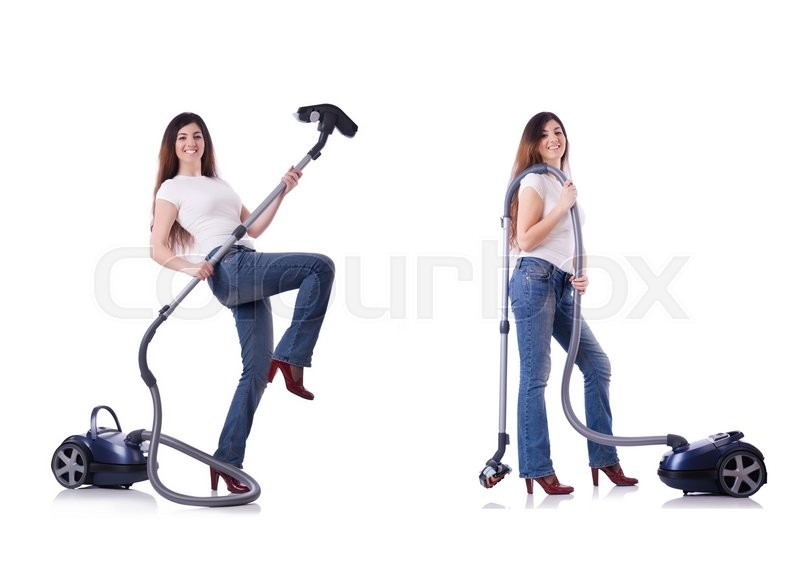 Stock image of 'Collage of woman cleaning with vacuum cleaner'
