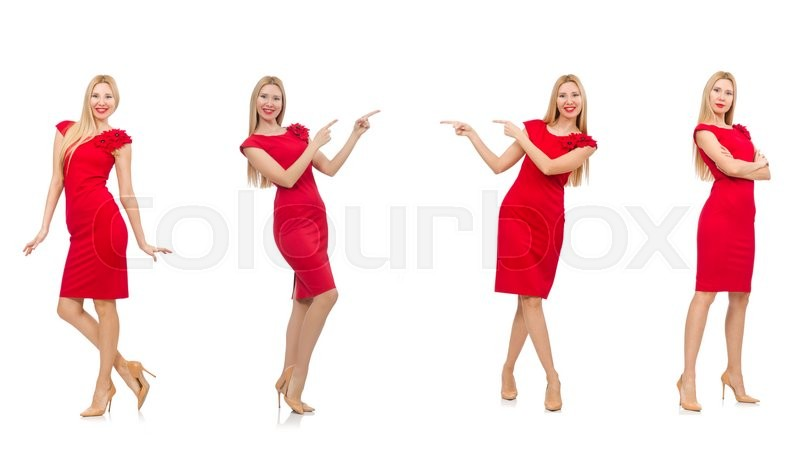Stock image of 'Woman in red dress isolated on white'